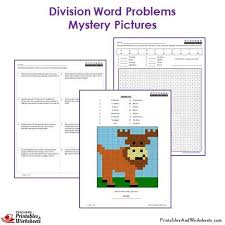 3rd grade division word problems mystery pictures coloring