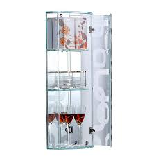 crystal grey bathroom corner wall mounted glass storage cabinet