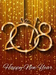 happy new year card vector image of 2018 happy new year glowing gold background