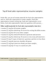 Sales Rep Resume Examples by Top 8 Food Sales Representative Resume Samples 1 638 Jpg Cb U003d1436106161