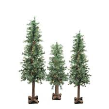 set of 3 pre lit woodland alpine artificial trees 3 4