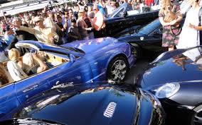 crashed subaru wrx like a bad neighbor bentley azure crashes into crowd of supercars