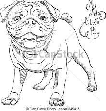 vector clip art of vector sketch cute dog black pug breed black