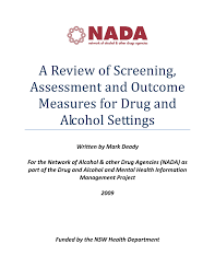 a review of screening assessment and outcome measures for drug