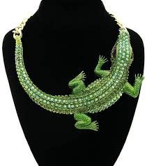 gold green necklace images Crocodile necklace chunky large pendant chain statement gold green jpg