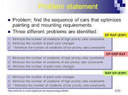 heuristics for a multi objective car sequencing problem daniel