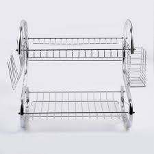2 tier stainless steel dish drainer cup dish rack cutlery tray