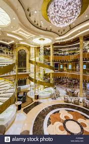 the decor of the atrium aboard the regal princess cruise ship