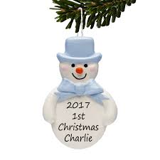 snowman personalised christmas tree decorations baby boys 1st
