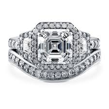 sterling silver asscher cubic zirconia cz art deco halo engagement