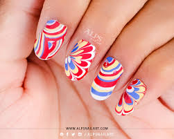 water marble nail art applique and creative water marble nail art