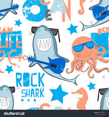 octopus wrapping paper pattern rock shark octopus print stock vector 695579575