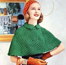 womens knitted cape pattern with breasted closure vintage