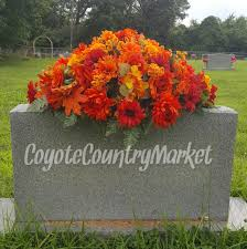 fall headstone saddle flowers for headstone grave decoration