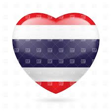 Flag Of Thailand Heart With Thai Flag Colors I Love Thailand Royalty Free Vector