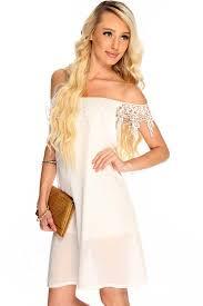 womens clothing club dresses white off the shoulder crochet trim