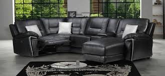 Black Leather Corner Sofa Henry Electric Recliner Corner Rhf Leathaire Electrical Recliner