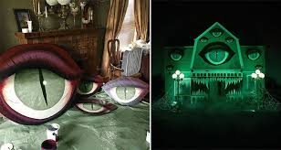 haunted house decorations artist christine mcconnell turns parents house into an epicly