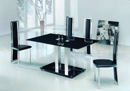 Alba Large Chrome Clear Glass Dining Table Modenza Furniture - Black glass dining room sets