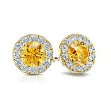 gold earrings studs certified 14k yellow gold halo yellow diamond stud earrings