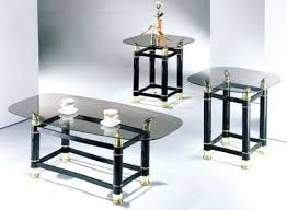 glass coffee table set of 3 3 piece pack 2 tube black finish horn coffee end table set we
