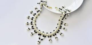 glass pearl necklace images Pandahall tutorial on how to make black and white pearl necklace jpg