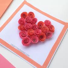 paper roses spiral paper heart card crafty morning