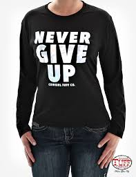 long sleeve tee with silver foil never give up block lettering