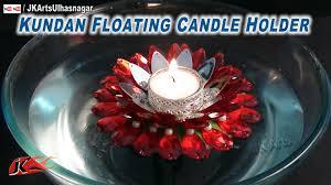 diy floating flower candle holder kundan rhinestone how to make