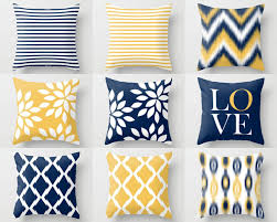 Yellow White Grey Bedroom Throw Pillow Covers Navy Yellow And White M32 Decorative