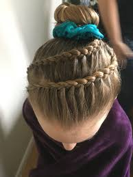 gymnastics competition hair braid hair pinterest