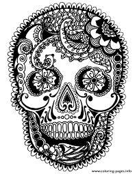 print skully sugar skull coloring pages sugar skulls