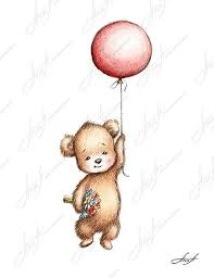 teddy balloons the drawing of teddy with balloon and flowers printable