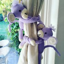 Lilac Nursery Curtains A Pair Of Monkeys Tie Backs Animal Curtain Tie Backs Nursery