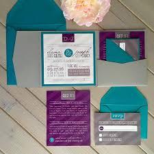 Wedding Pocket Invitations Modern Wedding Invitations Purple And Teal Wedding Invitations