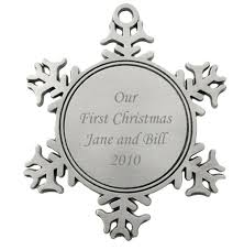 engravable snowflake pewter ornament