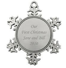 snowflake ornaments engravable snowflake pewter christmas ornament