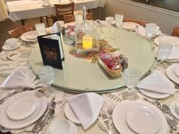Dining Table Settings Pictures Our Family Dining Table Setting With Large Lazy Susan Picture Of