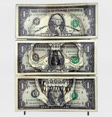 one dollar art laser cut money made worthless gained artistic value
