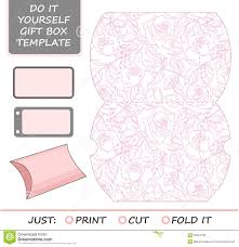 favor gift box die cut box template with rose stock vector
