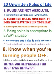 unwritten rules of life poster for individuals autism u0026 asperger u0027s