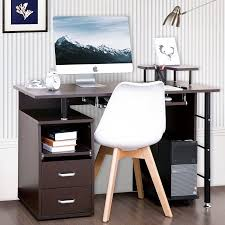 computer desk with cpu storage modernluxe computer desk with keyboard tray slide out cabinet two