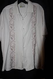 Camp Style Cubavera Men U0027s Shirt Large Cream Short Sleeve Camp Style Bowling