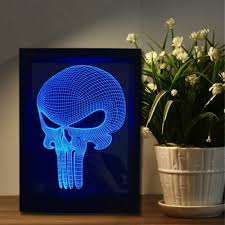 novelty figure unique long mouth skull 3d led visual frame
