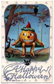 vintage halloween graphic pumpkin man on swing the graphics fairy