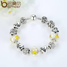 bracelet clasps diy images Bamoer delicate charm bracelet silver color yellow glass beads jpg