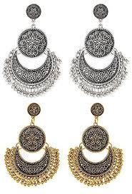 stylish earrings ethnic khazana fashion jewellery oxidized silver gold combo of 2