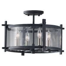 Clearly Modern Semi Flush Ceiling Light Black Cylinder Semi Flushmount Lights Lighting The Home Depot