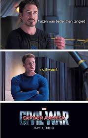 Frozen Movie Memes - captain america civil war memes iron man tony stark says frozen is