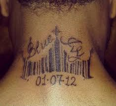 fan tattoos beyonce u0027s daughter blue ivy u0027s name on his neck photos